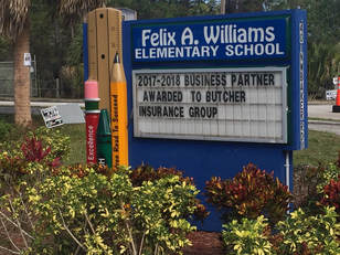 Felix A. Williams Elementary School announcement board